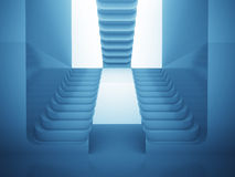 Three staircases in blue light as maze consctruction Stock Photography