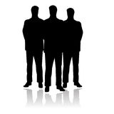Three standing men. Vector illustration of three formal and serious standing men, could be a team of people or three body guards too Stock Photo