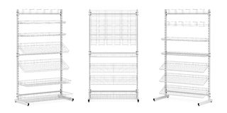 Three stands with wire baskets and hooks Stock Photography