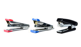 Three stapler isolate on white backgrounds Royalty Free Stock Images