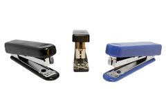 Three staplers isolated Royalty Free Stock Image