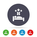 Three star Hotel sign icon. Rest place. Three star Hotel apartment sign icon. Travel rest place. Sleeper symbol. Round colourful buttons with flat icons. Vector Royalty Free Stock Image