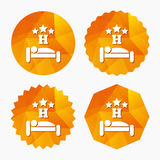 Three star Hotel sign icon. Rest place. Three star Hotel apartment sign icon. Travel rest place. Sleeper symbol. Triangular low poly buttons with flat icon Royalty Free Stock Image
