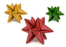 Three Star Shaped Origami Stock Photography