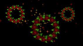 Three Starry Christmas wreaths from red poinsettia with twinkling stars. Christmas and New Year decoration, poinsettia wreath with burst of stars rotating on stock footage