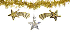 Three stars on christmas gold garland. Isolated three stars on christmas gold garland Royalty Free Stock Image