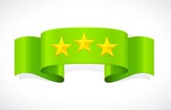 Three stars on green band Royalty Free Stock Photos
