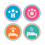 Three stars hotel icons. Travel rest place. Royalty Free Stock Photos