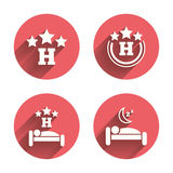 Three stars hotel icons. Travel rest place Royalty Free Stock Photo