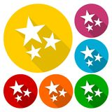 Three stars icons set with long shadow Stock Image