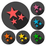 Three stars icons set with long shadow Royalty Free Stock Images