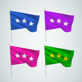 Three stars - vector flags. A set of wavy 3D flags created using gradient meshes. EPS 8 vector royalty free illustration