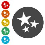 Three stars on white background with circles royalty free illustration