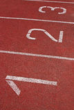 Three Start Numbers Running Tracks. Numbers of the Start Line of Athletics Running Tracks Royalty Free Stock Photography