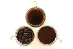Three state of coffee Royalty Free Stock Image