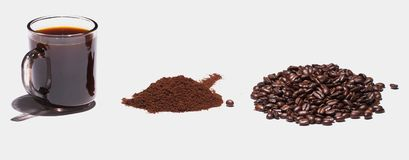The three states of coffee. Royalty Free Stock Images
