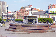 Three stations square fountain Heat Royalty Free Stock Images
