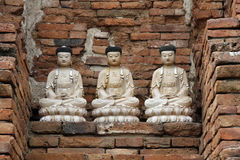 Three statues of Buddhas in Ayutthaya in Thailand Royalty Free Stock Image