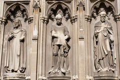 Three statues in the Canterbury Cathedral. Three stone statues in the Canterbury Cathedral Royalty Free Stock Photo