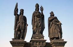 Three statues on the Charles Bridge Royalty Free Stock Photos