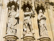 Three statues on the facade Royalty Free Stock Photo