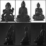 Three statues of gods from asia. Budhha. Ganesha, Shiva. View from front with white background. Side view with black background. High resolution Stock Images