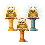 Three statues of owls with books on pedestals, isolated on white background. Cartoon vector close-up illustration. Three statues of owls with books on pedestals Royalty Free Stock Images