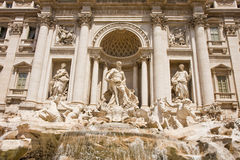 Three Statues and Trevi Fountain Stock Images