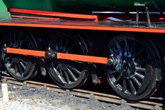 Three steam train wheels Stock Photo