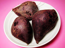 Three steamed purple sweet potato Stock Images