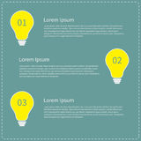 Three step business infographic with yellow light bulb. Idea concept. Stock Photo
