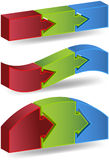 Three Step Process. 3D diagram showing a three phase event in different styles Royalty Free Stock Images