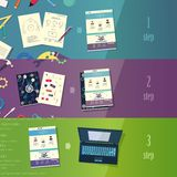 Three steps of creating the site creative process Stock Images