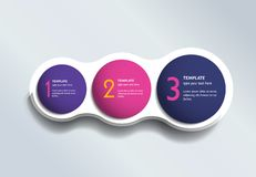 Three steps elements bubble chart, scheme, diagram. Infographic template vector illustration