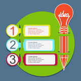 Three steps infographic template with pencil. With lightbulb royalty free illustration