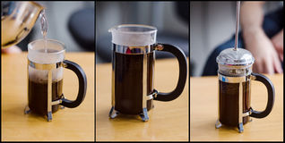 Preparing coffee with an infuser royalty free stock images
