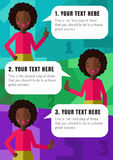 Three steps of realization your idea with African American girl in vector. (light blue, green, purple background Royalty Free Stock Images