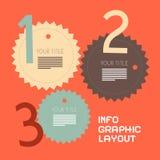 Three Steps Retro Paper Vector Infographics Stock Photo