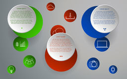Three steps rounded infographics. Circular infographic. Rounded infographic in modern colors. Outline technology and business icons Stock Photos