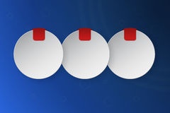 Three steps rounded infographics consist of 3d circles with place. For text and small red banner or ribbon. Blue circular gradient background with 3 option royalty free illustration