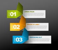 Three steps template. Vector Paper Progress template with three steps - green, orange and blue on dark background Royalty Free Stock Photography