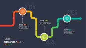 Three steps timeline or milestone infographic chart. Royalty Free Stock Photography