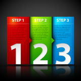 Three steps. Useful for tutorials or instructions. Stock Photo