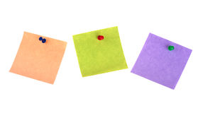 Three sticker notes with pins Royalty Free Stock Images