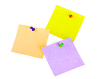 Three sticker notes with pins Royalty Free Stock Photo