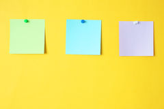 Three stickers. On a yellow background royalty free stock photography