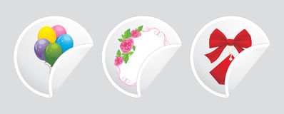 Three stickers with festive elements Royalty Free Stock Images