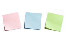Three Sticky Notes on White Stock Photos