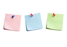 Three Sticky Notes on White Royalty Free Stock Photos