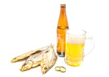 Three stockfish and beer on white Royalty Free Stock Photos